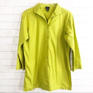 EILEEN FISHER Chartreuse Poplin Button Down Tunic